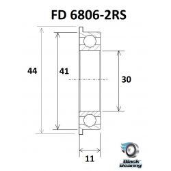 BLACK BEARING B3 roulement FD 61806-2RS / 6806-2RS